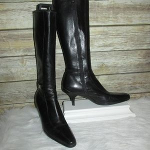 Prada Black Leather Mid Calf Boots